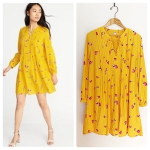 Old Navy Marigold Floral Dress Long Slv Tie Front